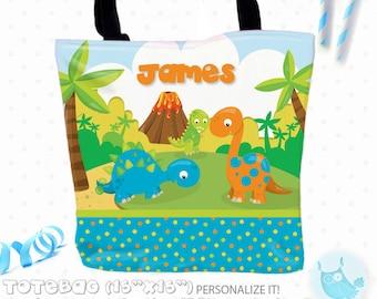 SALE dinosaur Personalized Tote Bags, custom Tote bag, kids tote, school tote, kindergarten tote, beach tote bag, Tote Bags TB127