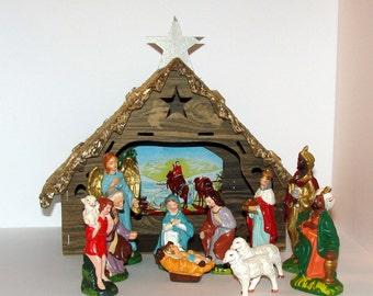 Old Nativity Scene Japan Made  Late Mid Century Very Nice