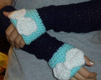 Customize Arm Warmer Fingerless Glove Tapered and Fitted.  Gorgeous accessory and great gift idea Pick you colors with or without bow