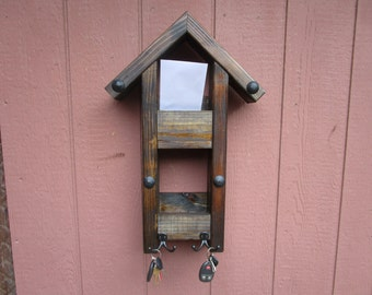 Rustic Mail organizer key holder, gift for him, gift for grandpa, gift for dad