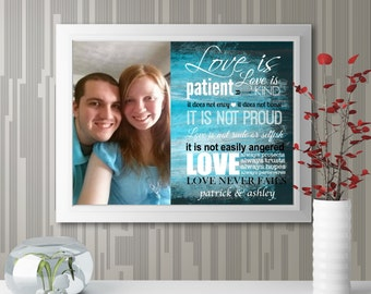 """Personalized """"Couple Photo With Quote"""" Wall Art"""
