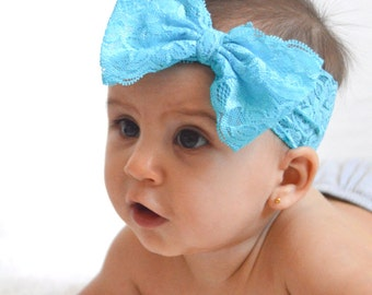 Blue Lace Bow Headband-Baby Girl Headband- Lace Baby Headbands- Lace Bow Headband-Baby Bow-Baby Girl Lace Hairbow-White Headband