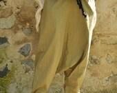 LINEN 100% harem pants/Beige loose pants/Yoga pants/Beige linen trousers/Maxi linen pants/Extravagant beige pants/Drop crotch pants/T1464