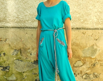 light Blue Harem Jumpsuit/Women casual jumpsuit/Loose jumpsuit/Black romper/Oversize aqua jumpsuit/Plus size jumpsuit/Two pockets/G1253