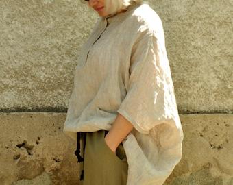 Beige linen shirt/Loose 100% linen tunic/Casual linen oversize top/Linen long tunic/maxi blouse/Maxi summer tunic/Oversize long top/T1465