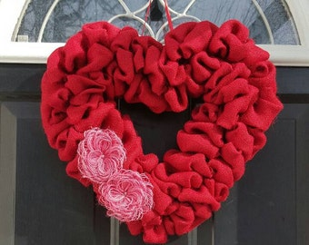 Valentine's Day wreath, Heart wreath, Burlap wreath, Valentine wreath, Front door wreath, Burlap wreath