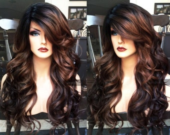 U.S.A. // HEAT SAFE Brown Auburn Ombre LACE Front & Part Curly Wig w/ Black Dark Roots