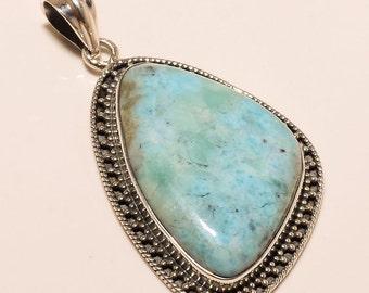 925 Solid Sterling Fine Silver  Caribbean Blue Larimar Pendant