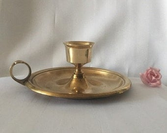 ON SALE VINTAGE Brass Candleholder large handheld candle base solid brass candle holder