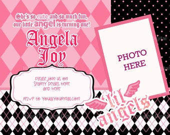 Lil Angels Personalized Printable Invitation - Digital -DIY- (print it yourself)