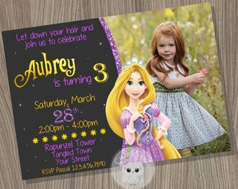 Rapunzel Invitation, Tangled Invitation, Tangled Birthday Invitation, Rapunzel Birthday, Princess Invitation, Disney Princess Birthday