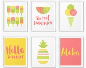 Summer Wall Art Prints, Instant Download Printable Art, Digital Download Art, Digital Print Pineapple Art, Hello Summer Print, Set Of Prints