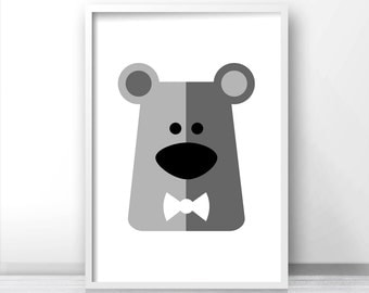 Bear Nursery Art Print, Animal Nursery Print, Kids Print, Baby Art, Nursery Wall Art Printable, Gray Nursery Decor, Printable Kids Art Print