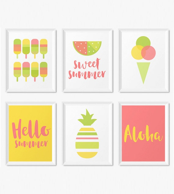Wall Art Prints Download : Summer wall art prints instant download printable
