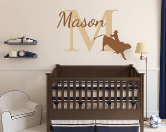 Personalized, Bull, Rider, Name, Initial, Baby, Children, Boy, Nursery, Bedroom, Home, Decor, Rodeo, Western