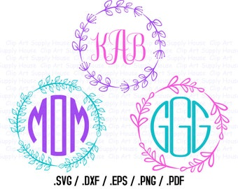 Circle Vine Monogram Frame Design Files, Use With Silhouette Software, DXF Files, SVG Font, EPS File, Svg Font, Silhouette - CA315