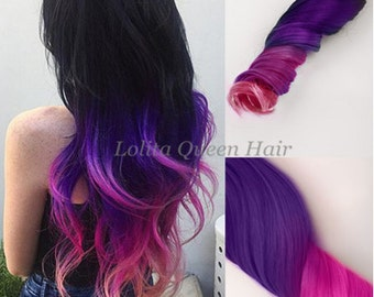 Purple and Pink Hair Extensions,100% Remy Human Hair, Clip in Hair Extensions,Pink Ombre Hair,Purple Ombre Hair,Weave,Festival, Hippie Hair