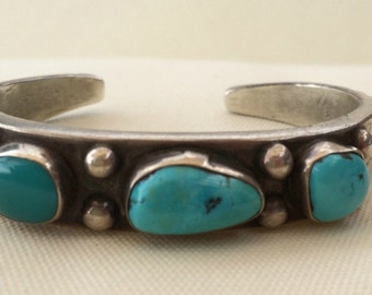 1940's Ingot silver and turquoise Navajo cuff bracelet