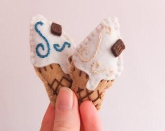 Felt Ice Cream Cone Brooch   Ice Cream Cone Brooch   Ice Cream Brooch   Felt Brooch   Seaside   Ice Cream   Ice Cream Cone