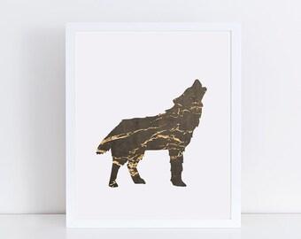Modern Brown & Gold Wolf Art Print, Animal Wall Decor