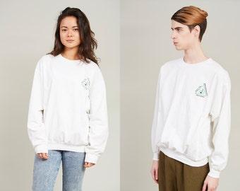 1990s Delta Music Neon Print White Cotton Sweatshirt • L [GR17]