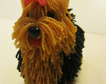 "Pattern / Tutorial Beaded Ornament -Master class to create "" Yorkshire Terrier Beaded"""