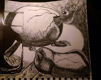 """A drawing of """"A Glass of Water a Pear and a Dragon Hatching"""". (You should look close at all my drawings.)"""