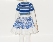 "Blue outfit for Kaye Wiggs Lasher Macario Bergemann Dollstown 7, 18""BJD dolls"