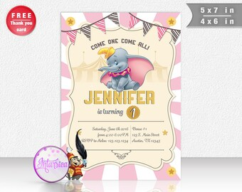 Dumbo Girl version Personalized Printable Party Invitation and Thank You Card Digital File