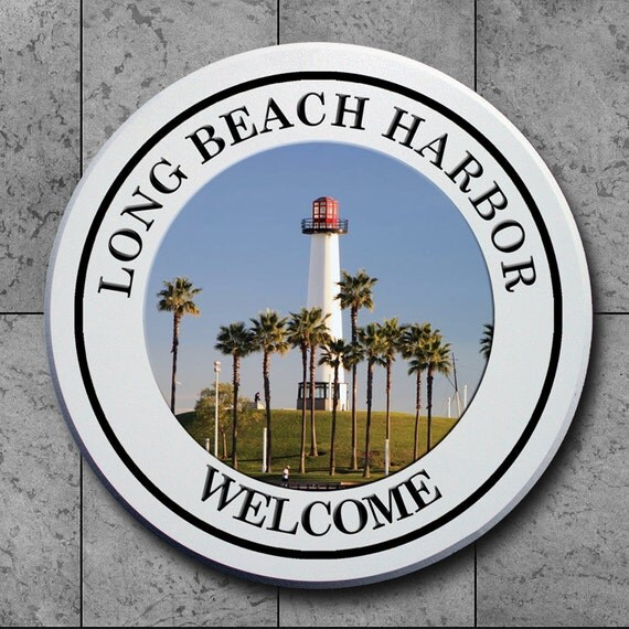Personalized Beach House Plaques: Long Beach Harbor Personalized Welcome Plaques Signs