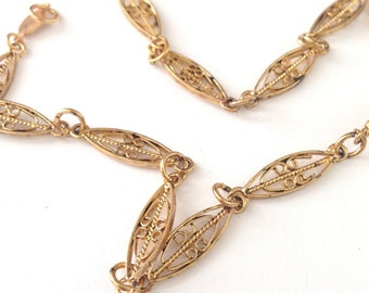 Vintage Gold Tone Scroll Work Link Necklace Chain Finding