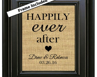 FRAMED Happily Ever After Burlap Sign Wedding Gifts Personalized Wedding Gift for Couples Gift for the bride Wedding Present Est. date