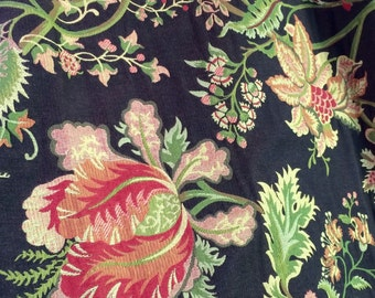 Drapery - Curtain Panels - Window Treatments - Floral Woven Jacquard  - Sold in Pairs - Dark Brown Drama