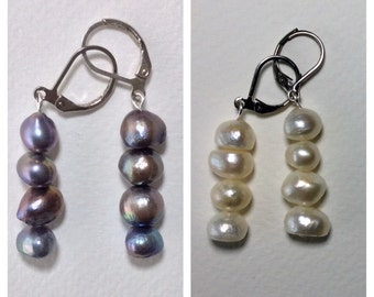 Freshwater Pearl Earrings, Black, Grey, White, Natural Stones, Handmade, Fortina Designs