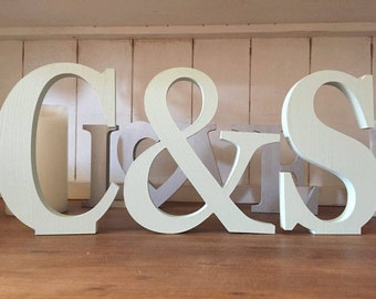 Mint Wedding Decoration / Home Decoration - Free Standing Wooden Letters and an Ampersand, 20cm Large Letters, 2 Letters Plus & Sign