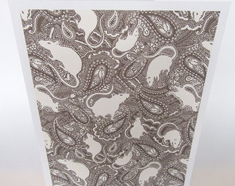 Rat greetings card / notelet with paisley pattern