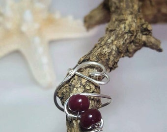 Handmade 935 Sterling Silver wire and natural Ruby Ring