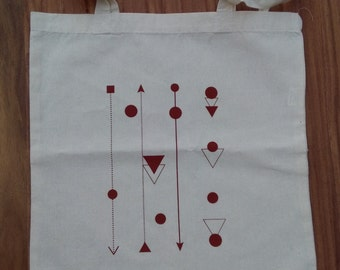 Cotton tote bag with abstract pattern, silkscreen