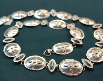 Link Native American Sterling Silver Concho Belt. Can be worn as a necklace or hatband too! Versatile piece! 91g - SS10043