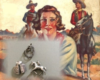 Silver Western Charms for Charm Bracelet, Chaps, Horse, Lariat - Estate Sale Find - Circa 1940s