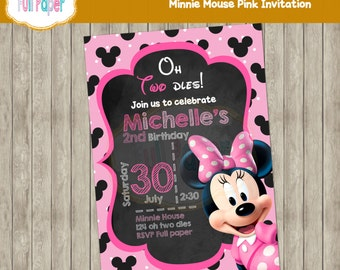 Minnie Mouse Pink Invitation-Minnie invite-Minnie party-Minnie Birthday-polka-oh two-dles-birthday party-Printable-Party Supplies
