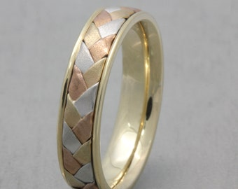 5mm 14K/18K Tri Color Gold Hand-Woven Basket Weave Comfort Fit Wedding Band, Gold Rings, Braided Rings, FREE ENGRAVING