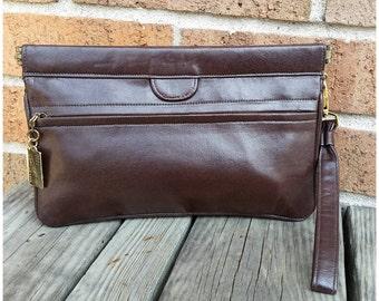 Zenith Brown Leather Handmade Clutch Wristlet Evening Bag