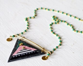 Triangle necklace, fabric necklace, brass necklace, glass necklace, green necklace, textile necklace, fabric mosaic