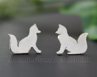 Sterling Silver Fox Earrings, Fox Jewelry, Animal Jewelry, Fox Stud Earrings, Silver Stud Earrings, Handmade Earrings, Vixen, Fox Gift