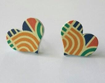 Wooden heart stud earrings.