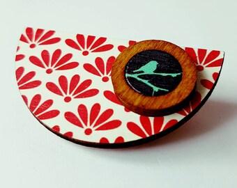 SALE Lovely handmade wooden brooch.