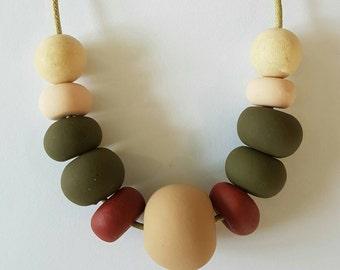 Handmade polymer clay bead necklace.
