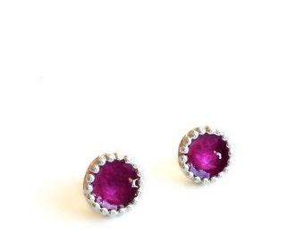 Sterling Silver Purple Resin Circle Stud Earrings -  Earrings 356 to 357 for EAD2015