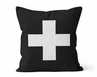 SWISS CROSS- Throw Pillow Case w/optional insert/ Custom Color Pillow/ Home Decor/ Decorative Pillow Cover